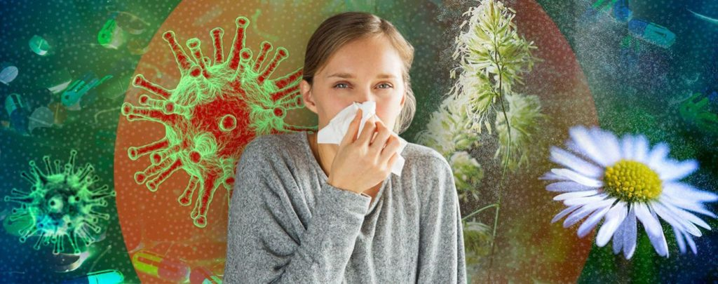 la foto muestra a una niña con alergias