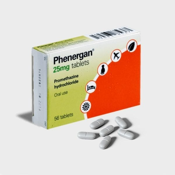 Foto de la caja y tabletas Phenergan 25mg